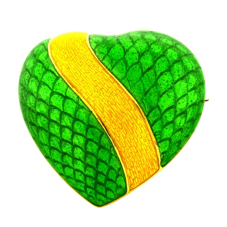 Tiffany & Co. Green Enamel Gold Heart Brooch