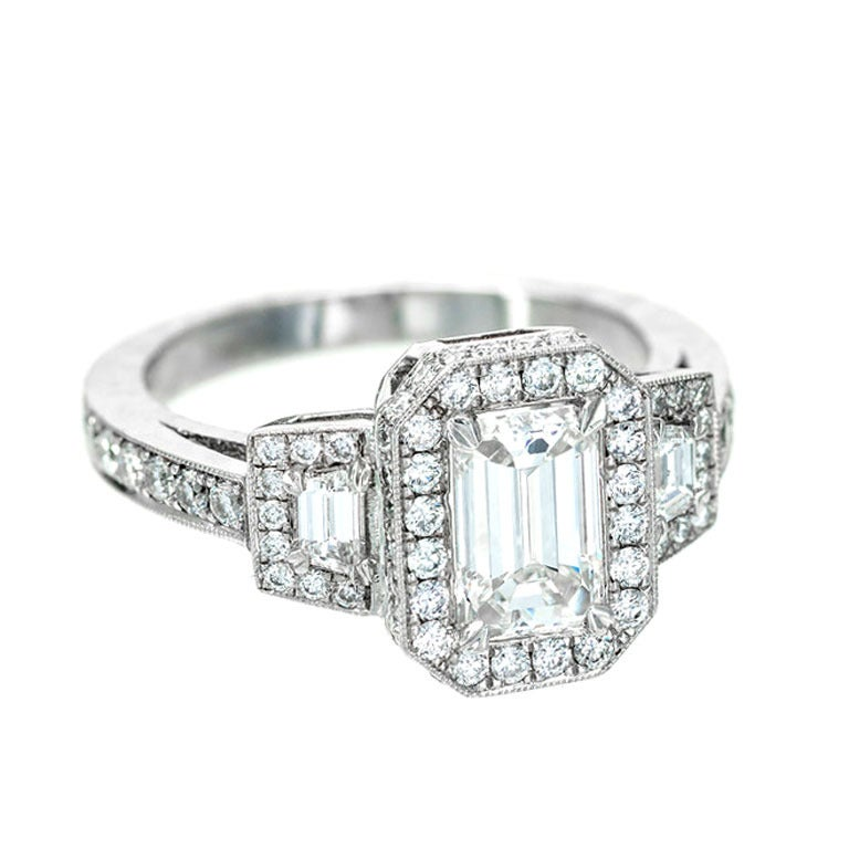 Emerald Step Cut Diamond Engagement Halo Ring at 1stdibs