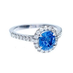 European Cut Oval Sapphire Diamond Halo Ring