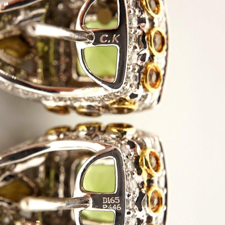 Women's Charles Krypell Peridot Yellow Sapphire Diamond Gold Earrings For Sale