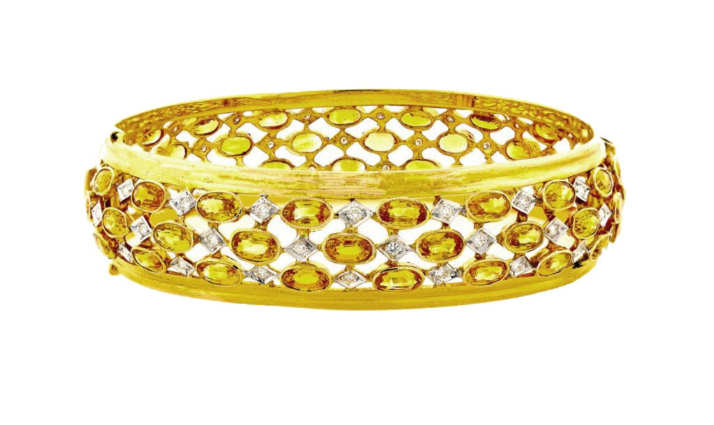 Three Row Yellow Sapphire Diamond Gold Hinged Bangle Bracelet 2