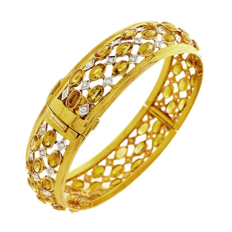 Three Row Yellow Sapphire Diamond Gold Hinged Bangle Bracelet