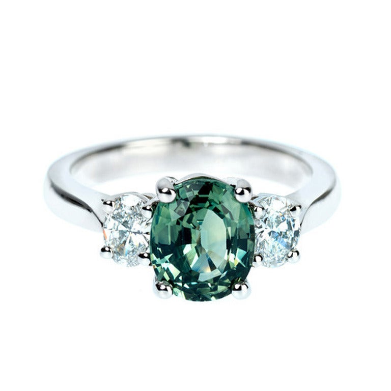 Green Sapphire Diamond Engagement Ring at 1stdibs