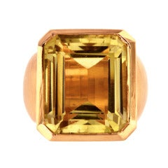 Green Prasiolite Quartz Diamond Gold Ring