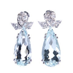 Pear Shape Aqua Diamond Dangle Earrings