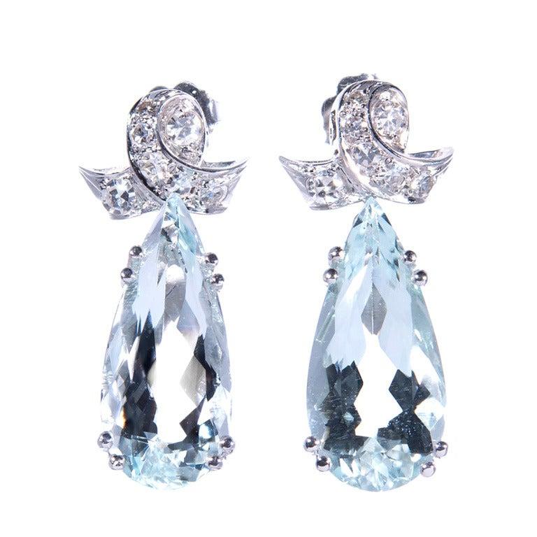 Pear Shape Aqua Diamond Dangle Earrings
