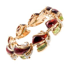 Multi Colored Enamel Inlay Pave Diamond Gold Bracelet