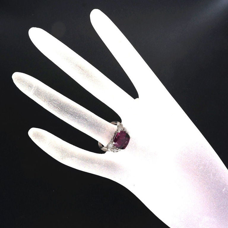 Natural Purple Spinel Diamond Ring 4