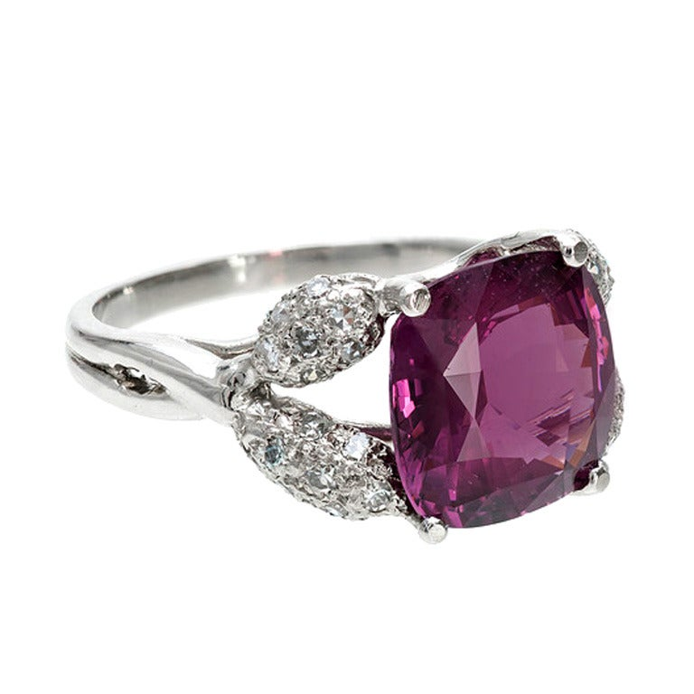 Natural Purple Spinel Diamond Ring 1
