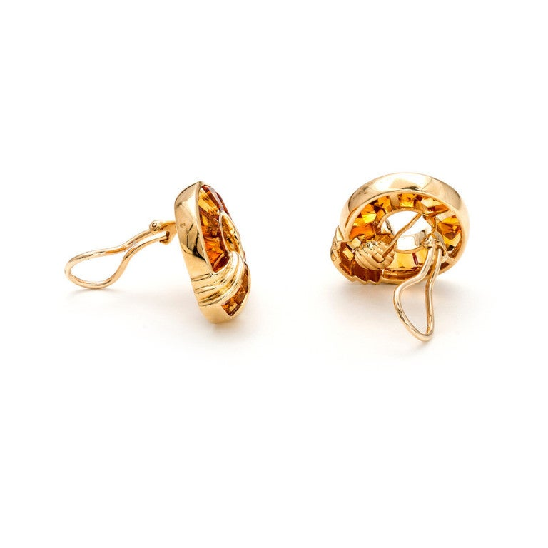 Orange Citrine Gold Pierced Non-Pierced Earrings 3