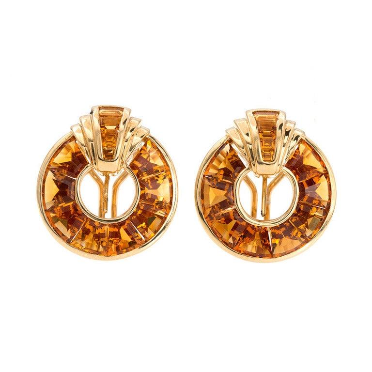 12.00 Carat Orange Citrine Gold Pierced Non-Pierced Earrings