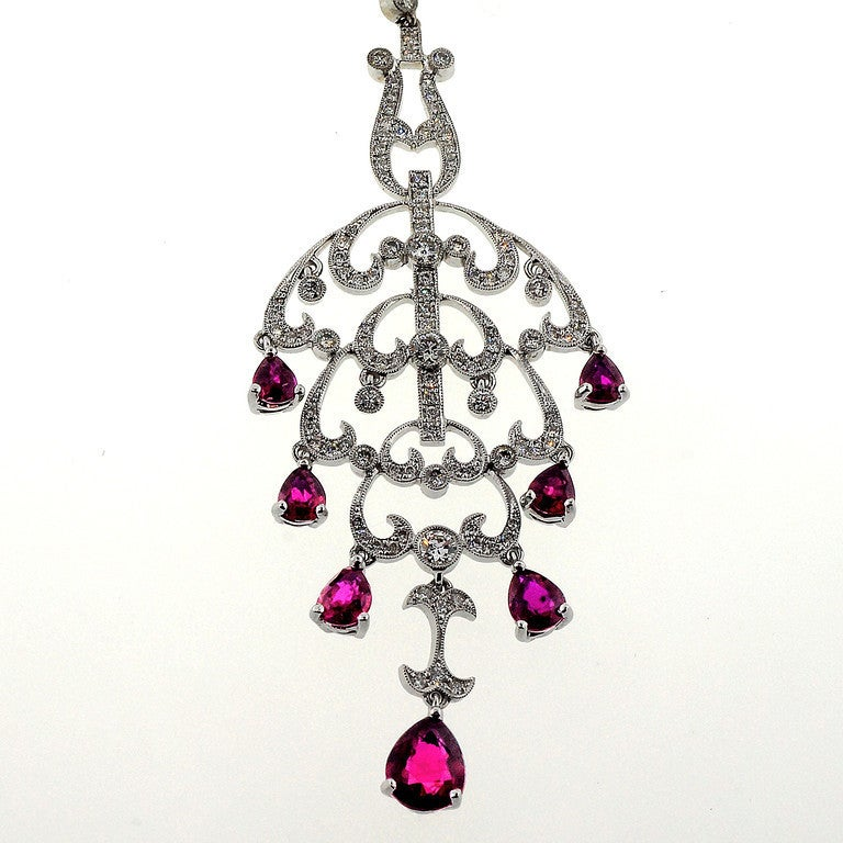 Red Diamond Chandelier Earrings