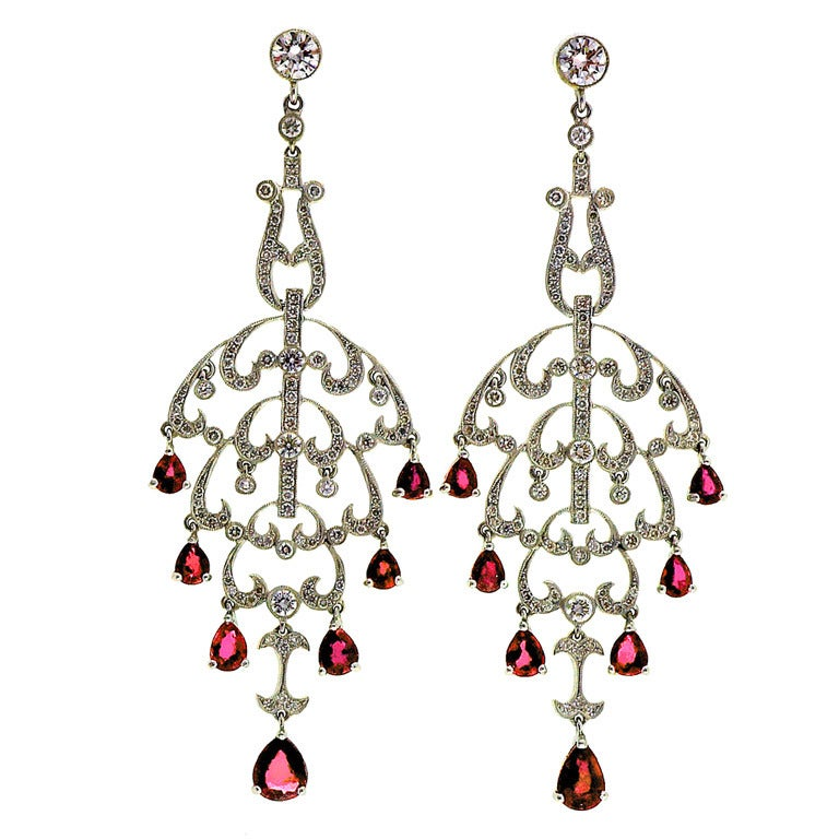 Natural Ruby Diamond Chandelier Dangle Earrings