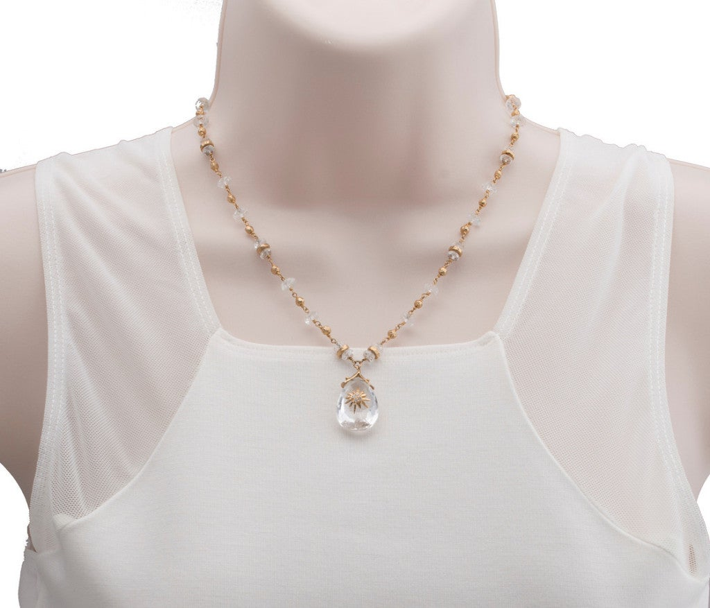 Women's Talisman Quartz Gold Bead Necklace For Sale