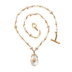 Talisman Quartz Gold Bead Necklace