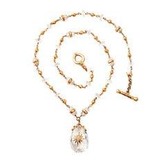 Talisman Quartz Gold Bead Necklace