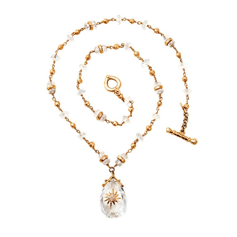 Talisman Quartz Gold Bead Necklace For Sale