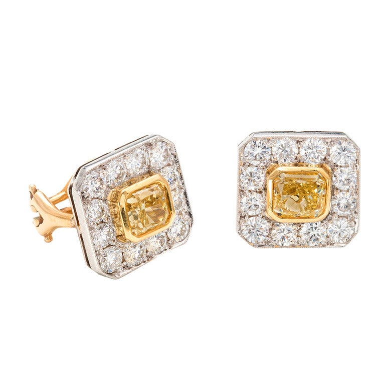 Peter Suchy 2.17 Carat Yellow White Diamond Halo Gold Octagon Earrings