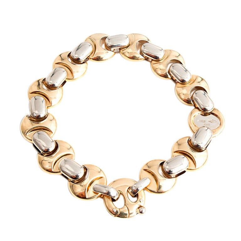 Italian Link Charm Bracelet: Braka Brev Italian Gold Link Bracelet For Sale At 1stdibs
