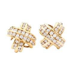 "Diamond Yellow Gold ""X"" Design Clip Post Earrings"