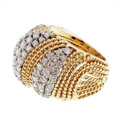 Diamond Gold Twisted Wire Dome Ring