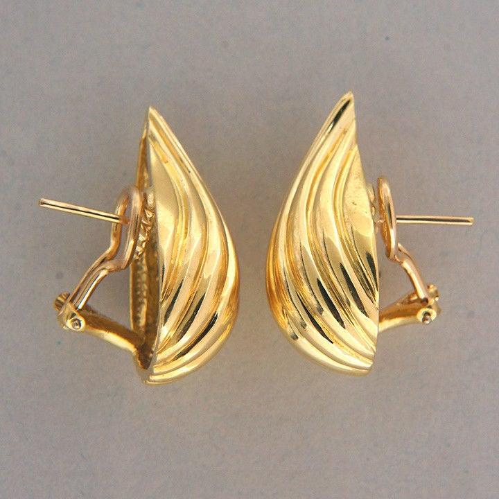 Tiffany & Co. Gold Tear Drop Clip Post Earrings 3