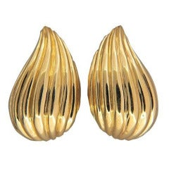 Tiffany & Co. Gold Tear Drop Clip Post Earrings