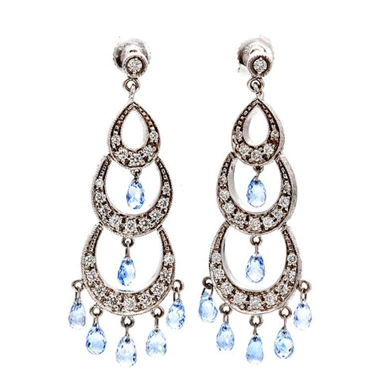 Lavender Sapphire Diamond Briolette Chandelier Earrings