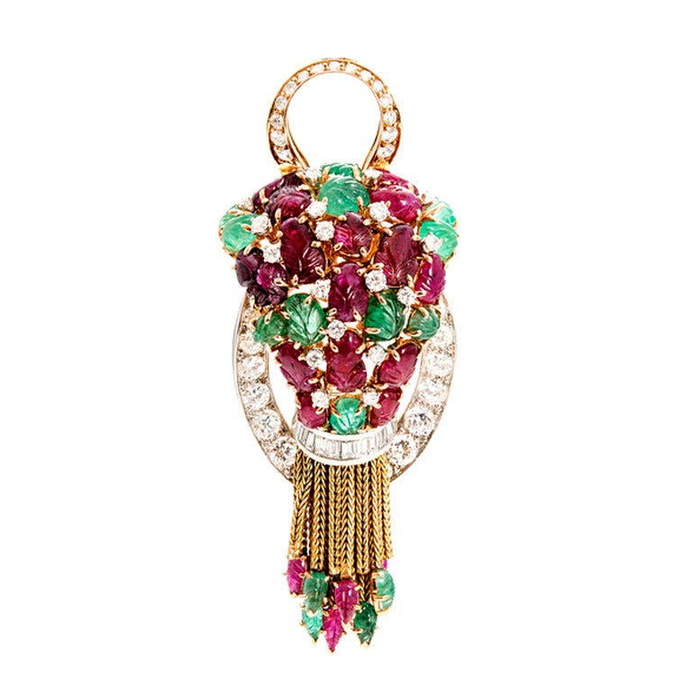Ruby Emerald Diamond Cluster Gold Pin Pendant