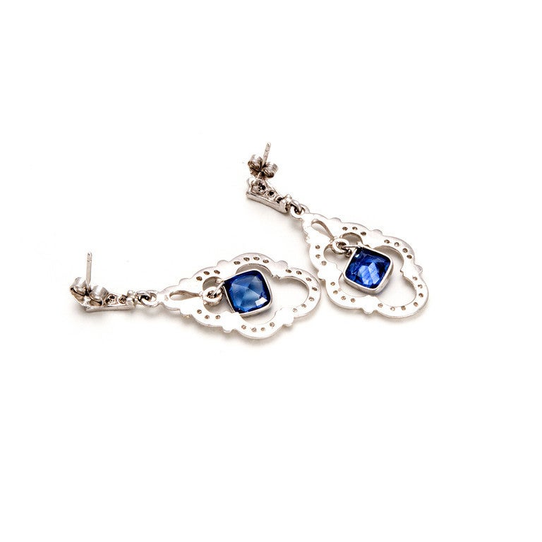 sapphire platinum dangle earrings at 1stdibs