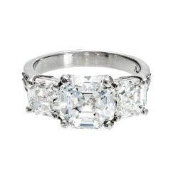 Asscher Cut Three Stone Diamond Platinum Ring