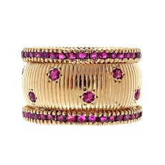 Ruby Gold Wide Band Ring