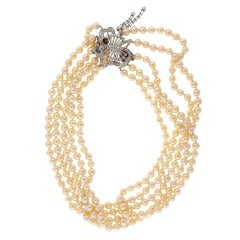 Multi Strand Pearl Diamond White Gold Necklace