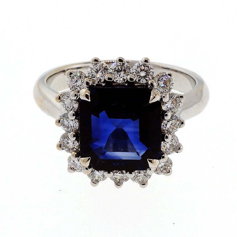 asscher royal blue sapphire ring c1950 at 1stdibs