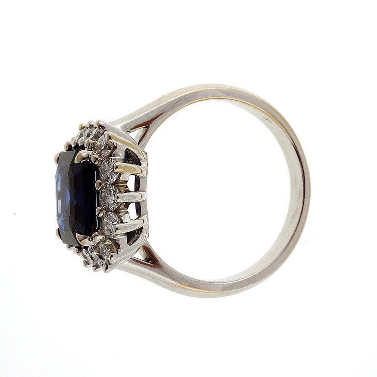 Asscher Royal Blue Sapphire Diamond Ring c1950 4