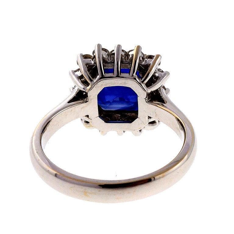 Asscher Royal Blue Sapphire Diamond Ring c1950 5