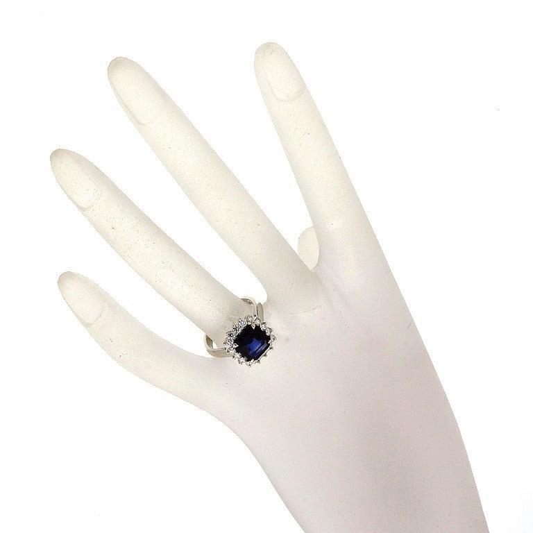 Asscher Royal Blue Sapphire Diamond Ring c1950 7