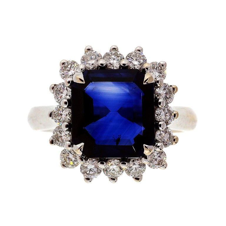 Asscher Royal Blue Sapphire Diamond Ring c1950 1