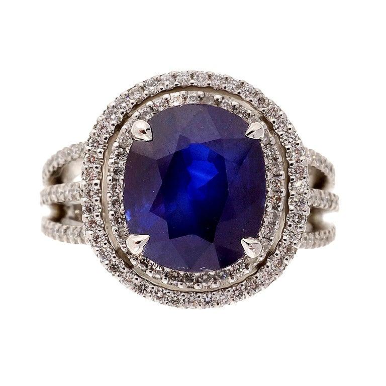 Royal Blue Sapphire Diamond Double Halo Ring at 1stdibs