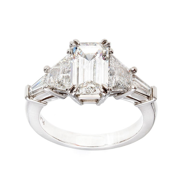 Art Deco Emerald Cut Diamond Ring at 1stdibs