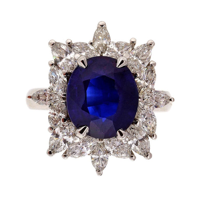 Royal Blue Sapphire And Marquise Diamond Ring c1950 For Sale at 1stdibs