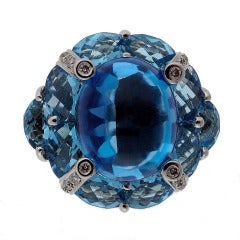 Bellari Gold Layla Blue Topaz And Diamond Ring