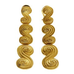 Tiffany & Co. Three-Section Long Swirl Gold Dangle Earrings
