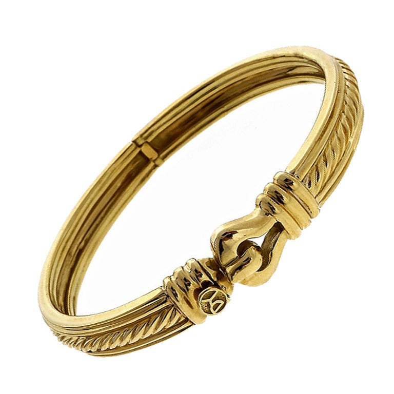 David Yurman Hinged Cable Gold Bangle Bracelet