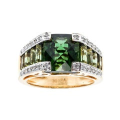 Bellarri Green Tourmaline Diamond Gold Ring