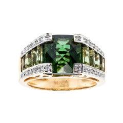 Bellarri Green Tourmaline Diamond Gold Ring