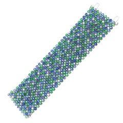 Ultra Wide Blue Ocean Gemstone Flex Bracelet