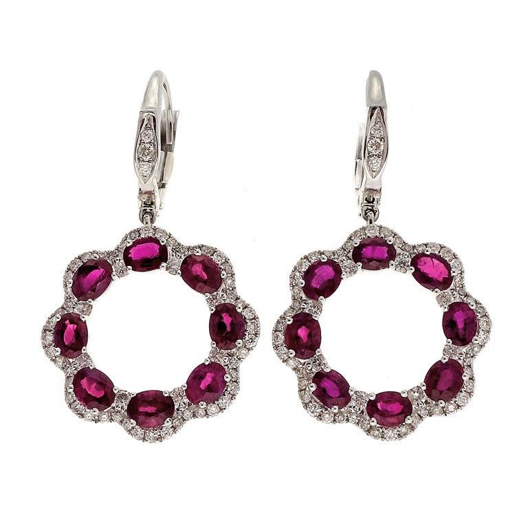 Oval Ruby Diamond Gold Dangle Earrings