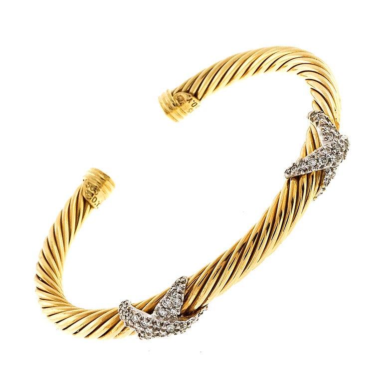 David Yurman 5mm Cable Diamond X Bracelet At 1stdibs