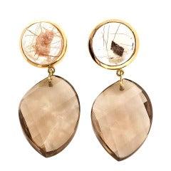 Peter Suchy Manifestor Quartz Gold Dangle Earrings